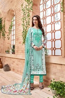 Kashmir Beauty Cyan green embroidered suit with pure chiffon dupatta