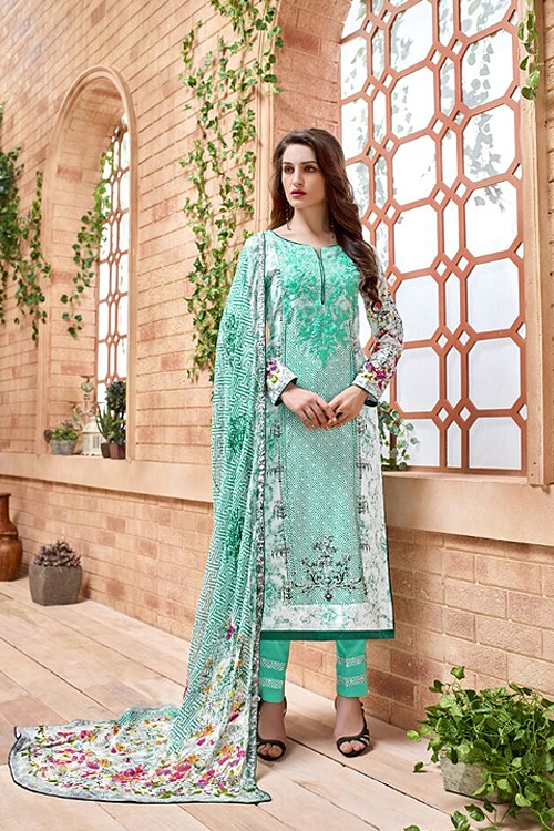 Kashmir Beauty Cyan green embroidered Salwar Suit with pure chiffon dupatta
