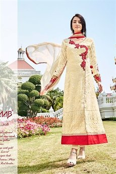 Cream Pure Georgette Embellished Straight Cut Suits