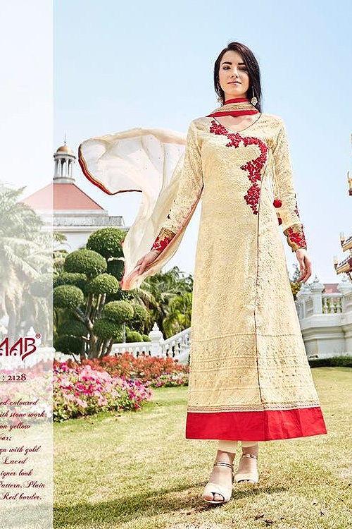 Cream Embroidered Pure Georgette Embellished Straight Cut Suit