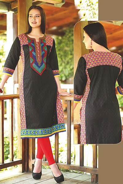 Beautiful Printed Kurti With Embroidery In Black