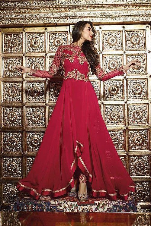 Red Glossy Malaika Arora Khan Heavy Embroidery  Anarkali Suits