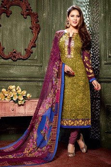Green Printed Straight style Salwar Suits in Crepe