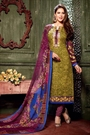 Army Green Printed Straight Style Salwar Suit in Crepe