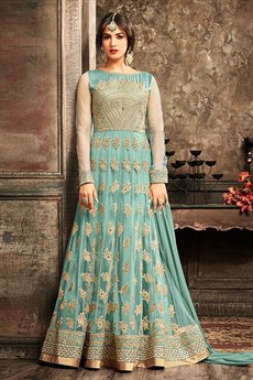 Cyan Blue Embroidered Net Floor Length Anarkali Suit