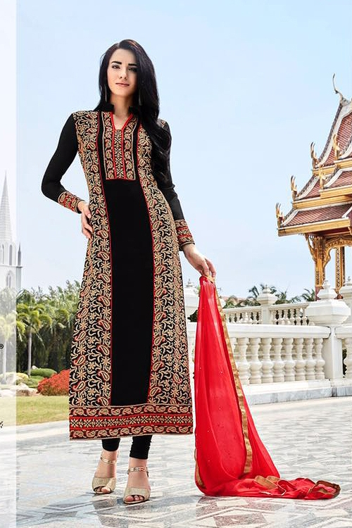 Black Pure Georgette Embellished Straight Cut Suits