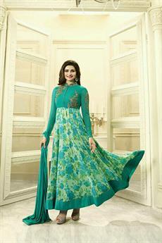 Glamorous Teal Green Floral Anarkali suit