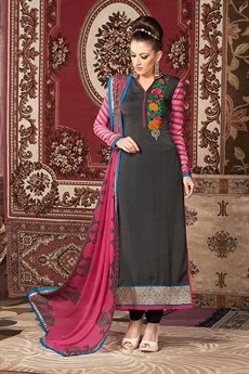 Grey and pink printed straight long Salwar Suit