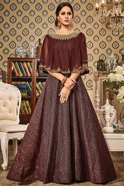 Coffee Brown Printed Art Silk and Net Designer Gown With Cape