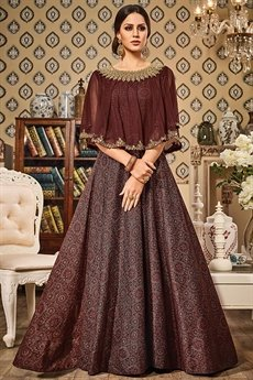 Coffee Brown Printed Designer Gown With Cape