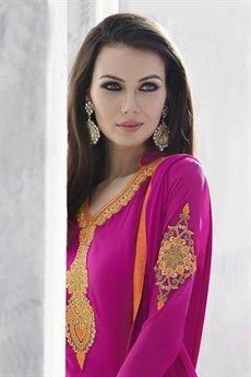 Ayka Designer Georgette Straight Cut Churidar Suit In Magenta