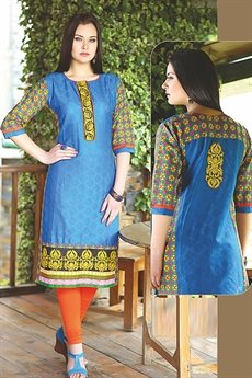 Beautiful Printed Kurti With Embroidery In Blue