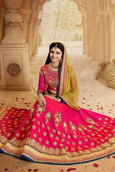 Pink and Yellow Heavy Embroidered Mastani Silk Lehenga Set