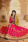 Reddish Pink and Yellow Heavy Embroidered Mastani Silk Lehenga Set