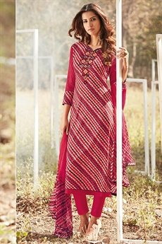 Beautiful Red Cotton Lawn Suit With digital Print & Chikan Embroidery Sleeves