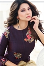 Berry Dark Purple Front Slit Floral Thread Embroidered Layered Anarkali Suit