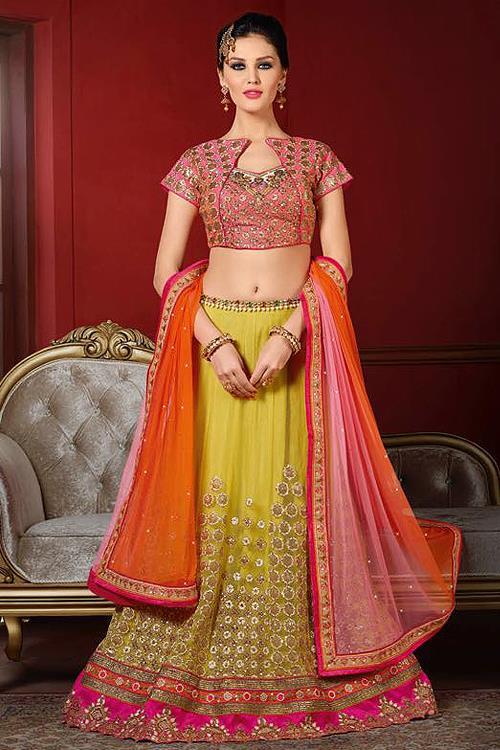 Elegant Pink and Green Designer Lehenga