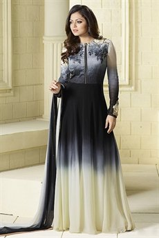 Beautiful Shades of Grayish- Blue and Off-White Embroidered Georgette Long Anarkali Suit