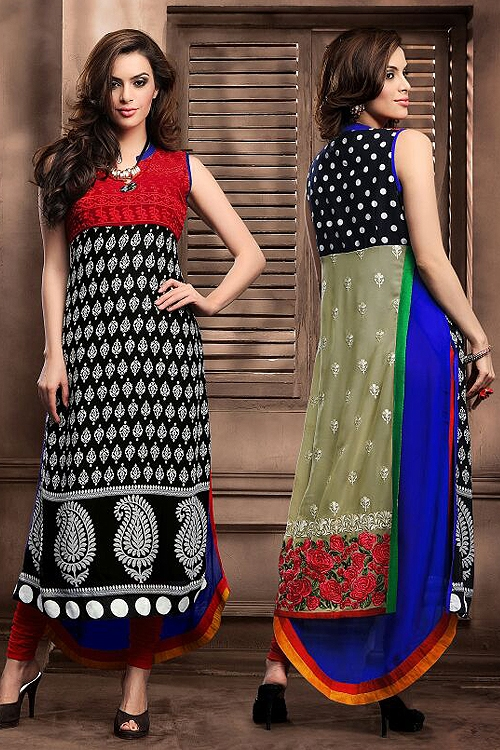 Alluring Layer Style Designer Georgette Kurti With Embroidery