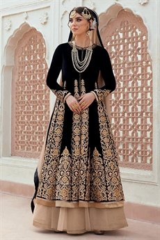 Beautiful Black Anarkali/Poncho Jacket Heavy Bridal Designer Suit