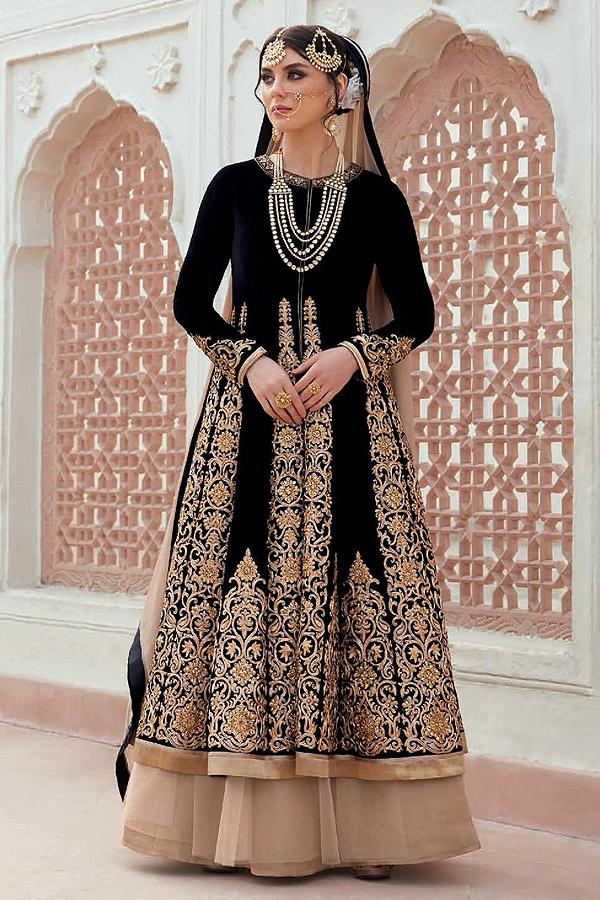 Beautiful Black Anarkali/Poncho Jacket Heavy Bridal Designer Suit