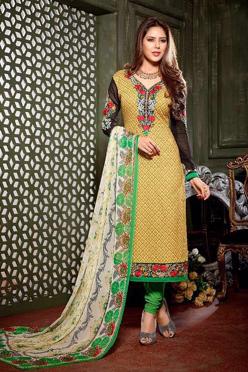 Hemani Crepe Printed Straight Suit With Embroidery In Olive Green