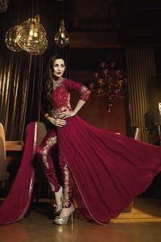 Maroon Glossy Malaika Arora Khan Heavy Embroidery Anarkali Suits