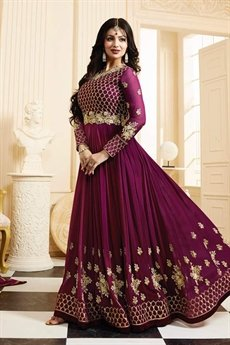 Beautiful Berry Georgette Anarkali Suit