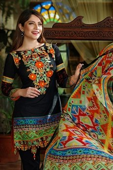 Bollywood Black Thread Embroidered Suit  With Digital Printed Dupatta