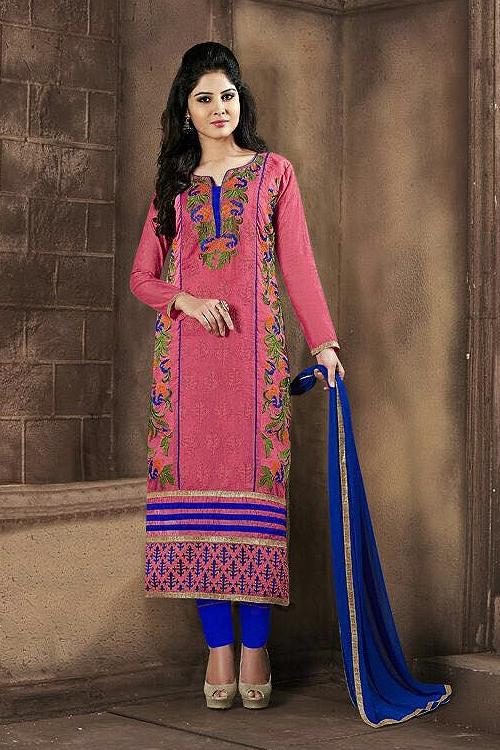 Chanderi Cotton Churidar Salwar Suits in Pink