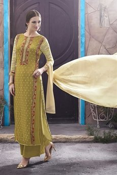 Casual Digital Printed Straight Style Suit In Mehandi Green Color
