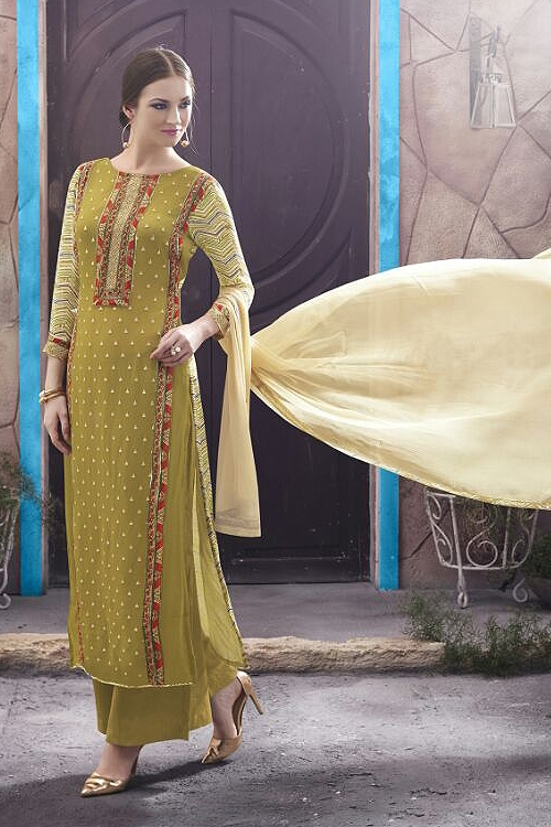 Casual Mehandi Green Color Digital Printed Georgette Straight Style Suit