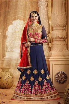Glamorous Navy blue and red heavy embroidered lehenga set
