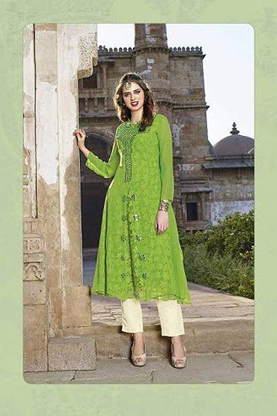 Hot Lady Impressive Georgette Designer Kurti In Lime Green