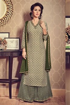 Olive Green Printed Art Silk Palazzo Suit