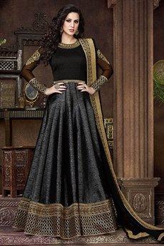 Black Violet Heavy Embroidery Anarkali Suits