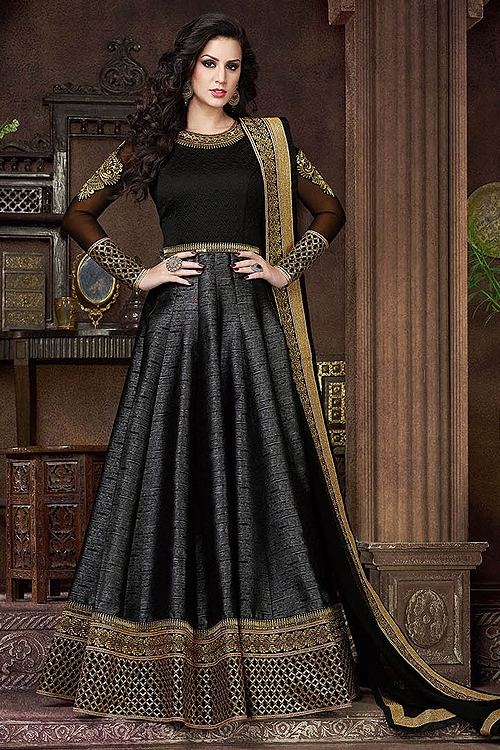 Black Violet Heavy Embroidery Anarkali Suits