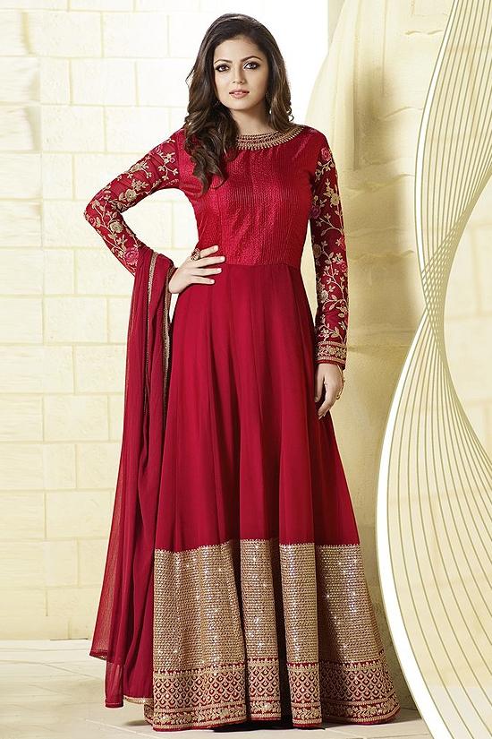 Glam Maroon Anarkali Suit