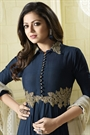 Navy Blue and Off-White Plain Viscose Satin Beautiful Long Anarkali Suit