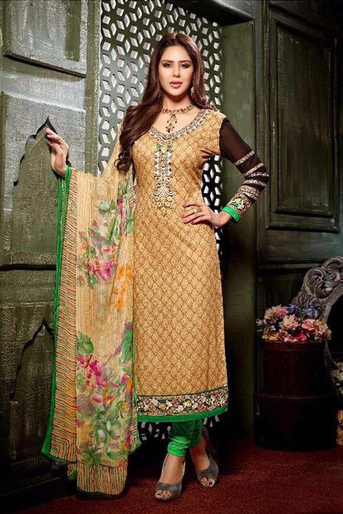 Beige Crepe Printed Straight style Salwar Suit