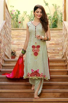 Bollywood Pastel Green Thread Embroidered Suit With Digital Printed Dupatta