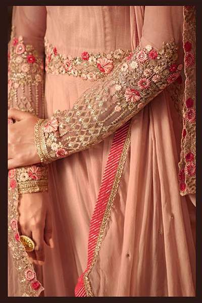 Dusty Peach Floral Embroidered Net Anarkali Gown
