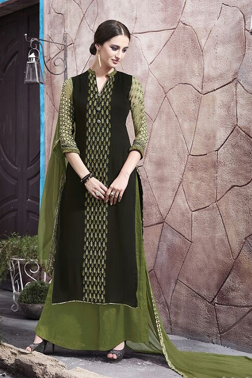 Casual Wear Digital Printed Plazzo Suit In Dark Moss Green Color