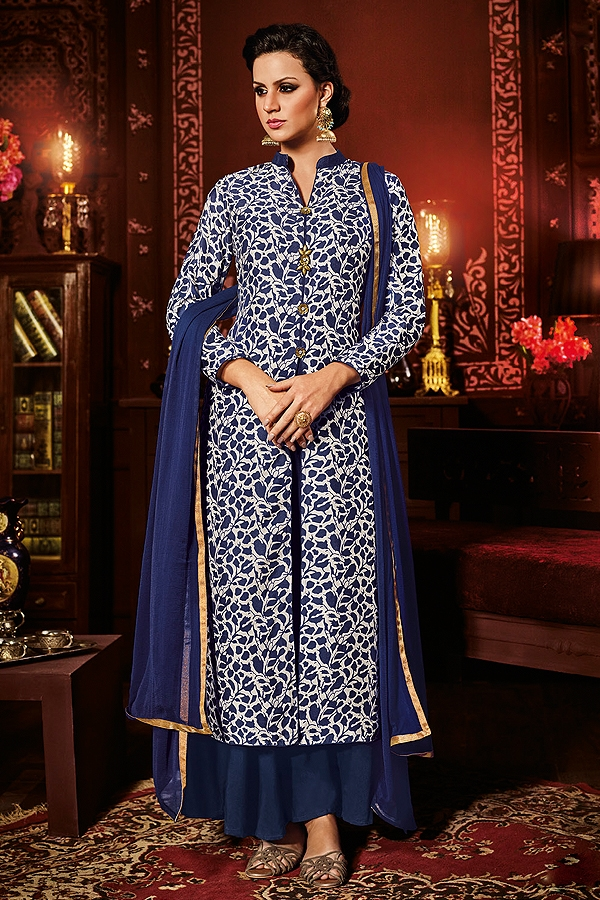 Navy Blue White Designer Collared Churidar/Pants Suit
