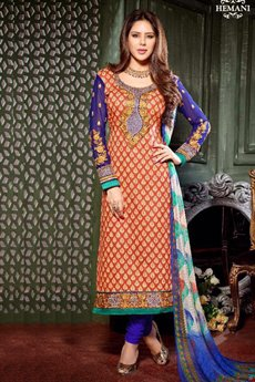 Burnt Orange Printed Crepe Straight Style Salwar Suit