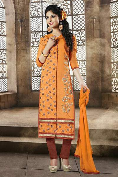 Saffron Orange Color Embroidered Chanderi Cotton Churidar Salwar Suit