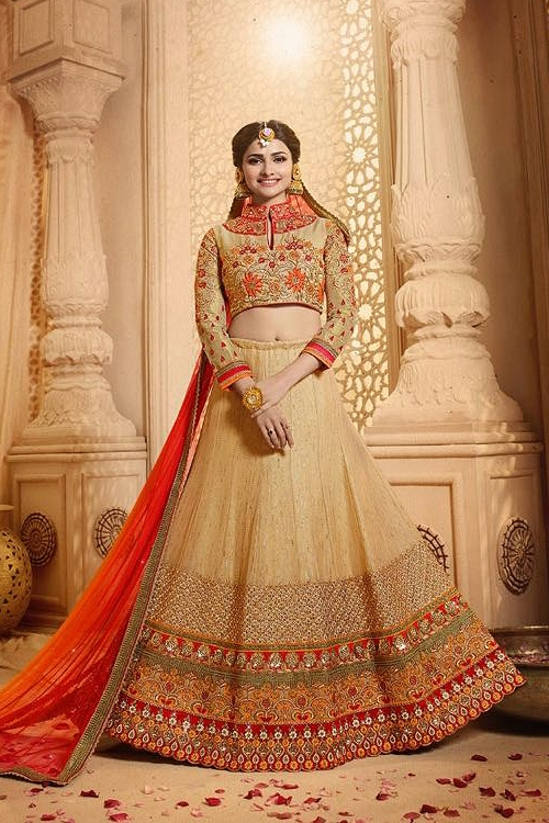 Royal Beige and red heavy embroidered lehenga set