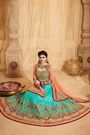 Beautiful and Stunning Peach and Turquoise Green Heavy Embroidered Mastani silk Lehenga Set