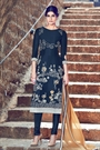 Navy Blue Embroidered Cotton Satin Churidar Salwar Kameez Suit