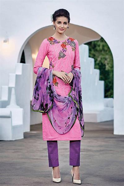 Brink Pink Embroidered Cotton Jacquard Designer Salwar Suit